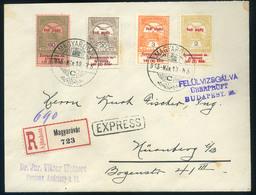 MAGYARÓVÁR 1915. Cenzúrázott Expressz-ajánlott Levél Négy Címletű Hadi Segély Bérmentesítéssel Nürnbergbe  /  MAGYARÓVÁR - Used Stamps