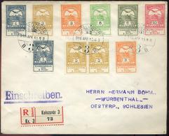 KOLOZSVÁR 1916. Ajánlott Levél Árvíz Bélyeges Dekoratív Bérmentesítéssel Németországba  /  KOLOZSVÁR 1916 Reg. Letter Fl - Used Stamps