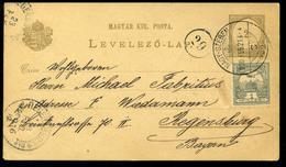 NAGYSZEBEN 1900. Krajcár-Turul Vegyes Bérmentesítésű Díjjegyes Lap Regensburgba Küldve  /  NAGYSZEBEN 1900 Kr-Turul Mix. - Used Stamps