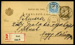ARAD 1895. 10Kr-ral Kiegészített Ajánlott Díjjegyes Lap Nagyhalmágyra Küldve  /  ARAD 1895 10Kr Uprated Reg. Stationery  - Used Stamps