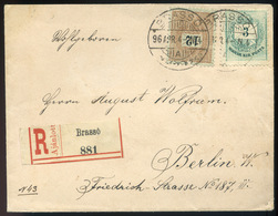 BRASSÓ 1896. Ajánlott Levél 12Kr+3kr-ral Berlinbe Küldve, Szép és Ritka Darab!  /  BRASOV 1896 Reg. Letter 12Kr+3kr To B - Hungary
