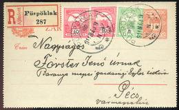 PÜSPÖKLAK 1911. Kiegészített,ajánlott Zárt Díjjegyes Lap Pécsre Küldve  /  PÜSPÖKLAK 1911 Uprated Reg. Sealed Stationery - Used Stamps
