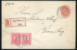 NAGYKANIZSA 1896. Ajánlott Kiegészített Díjjegyes Boríték, Pályaudvari Bélyegzéssel Bécsbe  /  NAGYKANIZSA 1896 Reg. Upr - Used Stamps
