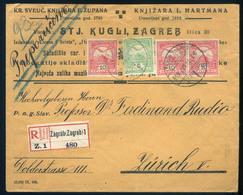 ZÁGRÁB 1909. Dekoratív,ajánlott Céges Levél Svájcba Küldve  /  ZAGREB 1909 Decorative Reg. Corp. Letter To Switzerland - Used Stamps