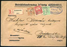 BEREKBÖSZÖRMÉNY 1904. Ajánlott, Háromszínű Levél Budapestre  /  BEREKBÖSZÖRMÉNY 1904 Reg. 3 Color Letter To Budapest - Used Stamps
