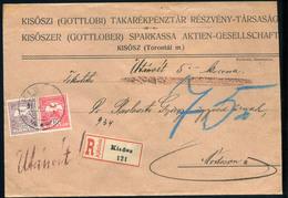 KISŐSZ 1911. Ajánlott, Utánvételes Levél Módosra Küldve  /  KISÖSZ 1911 Reg. COD Letter To Módos - Used Stamps