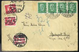 NÉMETORSZÁG 1932. Leipzig Kiállítási Levél Budapestre Küldve, Három Címletű Portózással  /  GERMANY 1932 Leipzig Expo Le - Germany