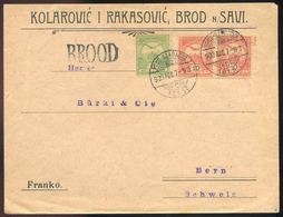 BROD N.S. 1903.Céges Levél, Pályaudvari és Mozgóposta Bélyegzéssel Svájcba Küldve   /  BRON N.S. 1903 Corp. Letter Train - Used Stamps