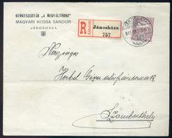 """JÁNOSHÁZA 1911. Gyógyszertár A """"megváltóhoz"""" Céges Ajánlott Levél Szombathelyre  /  JÁNOSHÁZA 1911 Pharmacy  Corp. Reg.  - Used Stamps"""