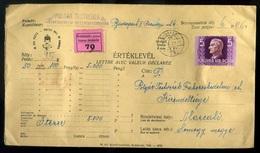 BUDAPEST 1942. Szép értéklevél, 12 Bélyeges Bérmentesítéssel, Közte Horthy 5P Marcaliba Küldve  /  BUDAPEST 1942 Nice Mo - Hungary