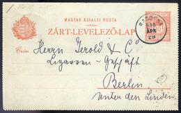 RADOSNA 1900. Zárt Díjjegyes Levlap, Szép és Ritka Egykörös Bélyegzéssel Berlinbe Küldve  /  RADOSNA 1900 Sealed Station - Used Stamps