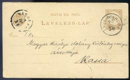 ÁRVAPOLHORA 1895. Díjjegyes Levlap Szép Bélyegzéssel Kassára  /  ÁRVAPOLHORA 1895 Stationery P.card Nice Pmk To Kassa - Used Stamps