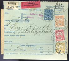 TRENCSÉN 1912. Csomagszállító Háromszínű Bérmentesítéssel Stubnyafürdőre Küldve  /  TRENCSÉN 1912 Parcel Postcard 3 Colo - Used Stamps