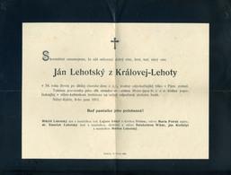 ALSÓKUBIN 1911. Érdekes Gyászjelentés Felsőkubin Postaügynökségi érk. Bélyegzéssel  /  ALSÓKUBIN 1911 Interesting Obitua - Used Stamps