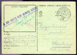 II. VH Tábori Posta Levlap KLGS Munkás Század Bélyegzéssel Dunakeszire  /  WW II. APO Card KLGS Work Detail Pmk To Dunak - Hungary