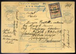 1917. K.u.K.Feldpost , Portómentes Szállítólevél Szerb Hadifogolynak , EP ARANGJELOVAC, A Faddra Küldve, Továbbküldve Sz - 1850-1918 Empire