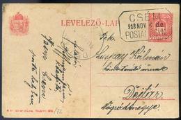 CSÉM 1918. Díjjegyes Levlap, Szép Postaügynökségi Bélyegzéssel  /  CSÉM 1918 Stationery P.card Nice Postal Agency Pmk - Used Stamps