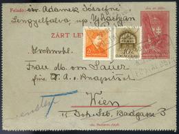 LENGYELFALVA 1939. Kiegészített Zárt Díjjegyes Lap, Postaügynökségi Bélyegzéssel  / LENGYELFALVA 1939 Uprated Sealed Sta - Hungary