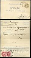 NÉMETLAD - SZIGETVÁR 1892. 31Kr-os Díjjegyes Távirat Lap 2*5Kr Kiegészítéssel Báró Wenckheim Viktornak Pozsonyba Küldve  - Used Stamps
