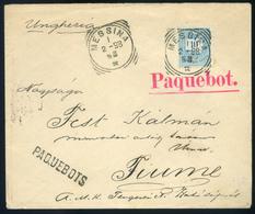 1898. Szép Peterdi Féle Hajóposta Levél 10kr-ral Messinából Fiumébe Küldve.  /  1898 Nice Peterdi Ship Post Letter 10 Kr - Used Stamps