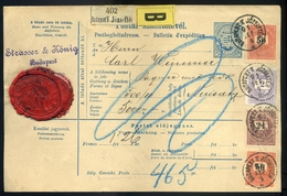 BUDAPEST 1891. Szelvényes Csomagszállító Négybélyeges Bérmentesítéssel Újvidékre Küldve. Szép! Strasser /  BUDAPEST 1891 - Used Stamps