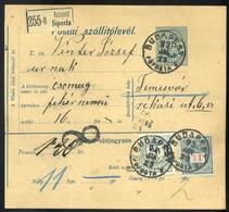 BUDAPEST 1893. Csomagszállító 1Ft + 20Kr Temesvárra Küldve  /  BUDAPEST 1893 Parcel P.card 1Ft + 20 Kr To Temesvár - Used Stamps