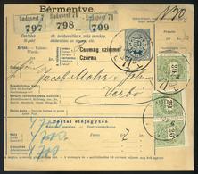 BUDAPEST 1899. Csomagszállító, Három Csomagról Céglyukasztásos 3*30Kr-ral Verbóra Küldve  /  BUDAPEST 1899 Parcel P.card - Used Stamps