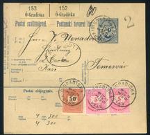 VERSEC 1892. Szép Háromszínű Krajcáros Csomagszállító Temesvárra Küldve  /  VERSEC 1892 Nice 3 Color Kr Parcel P.card To - Used Stamps