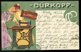 1910. Dürkopp Varrógép, Litho, Szecessziós Reklám Képeslap  /  1910 Dürkopp Sewing Machine Litho Secession Adv. Vintage - Advertising