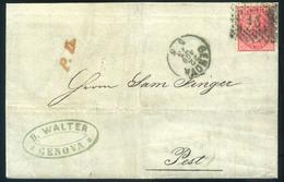 OLASZORSZÁG 1873. Genova, Levél Tartalommal Pestre Küldve  /  ITALY 1873 Geneva Letter Cont. To Pest - 1861-78 Vittorio Emanuele II