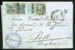 OLASZORSZÁG 1868. Torino, Levél Négybélyeges Bérmentesítéssel Pestre Küldve  /  ITALY 1868 Turin Letter 4 Stamp Frank. T - 1861-78 Vittorio Emanuele II
