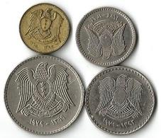 Lot 4 Pièces De Monnaie    1-2 1/2- 25 Et 50 Piastres - Syrie