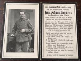 Sterbebild Wk1 Bidprentje Avis Décès Deathcard RIR12 BRIANCON Französische Gefangenschaft Lungenentzündung Aus Wald 1919 - 1914-18