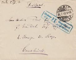 Env En Franchise Obl COLMAR / *(ELS) 1 I Du 31.7.18 Avec Censure  Adressée à Osnabrück - Postmark Collection (Covers)