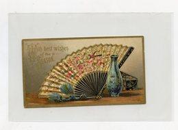 """Carte De Joyeux NOËL . Merry CHRISTMAS .  Gaufré / Embossed . Eventail / Fan   """"""""""""Année 1889"""""""""""""""" - Non Classés"""