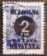 KING PETER II-2 DIN-OVERPRINT NDH-WWII-ERROR-HOLE-CROATIA-1941 - Kroatien