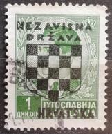 KING PETER II-1 D-OVERPRINT NDH-WWII-COAT OF ARMS-ERROR-CROATIA-1941 - Croatia