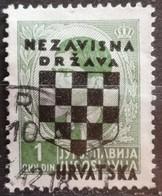 KING PETER II-1 D-OVERPRINT NDH-WWII-COAT OF ARMS-ERROR-HOLE-CROATIA-1941 - Croatia