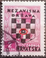 KING PETER II-2 D-OVERPRINT NDH-WWII-COAT OF ARMS-ERROR-HOLE-CROATIA-1941 - Croatia