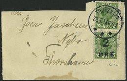 FÄRÖER 1 BRIEF, 1919, 2 Ø Auf 5 Ø Hellgrün Mit DK-Nr. 67 Auf Ortsbrief THORSHAVN, Brief Oben Nicht Ganz Vollständig, Mar - Denemarken