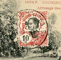 """INDOCHINE N° Yt 45 SUR CARTE POSTALE DE SAIGON DE 1908 OU 1909 ET CàDATE D'ARRIVÉE DE """"MONS ARRIVÉE 1909"""" + CACHET FAC - Lettres & Documents"""
