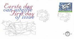 Nederland - FDC - Tien Voor Europa - Vliegende Koe Met Nederlandse Producten En Vlag, Europese Landen - NVPH E331 - Post
