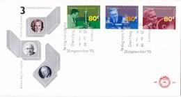 Nederland - FDC - Nobelprijswinnaars - F. Zernike-natuurkunde/P.J.W. Debye-scheikunde/J. Tinbergen-economie - NVPH E341 - Nobelprijs