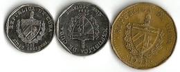 Lot 3 Pièces De Monnaie   5- 10 Centavos Et 1 Peso - Cuba