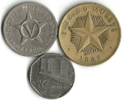 Lot 3 Pièces De Monnaie   5- Centavos Et 1 Peso - Cuba