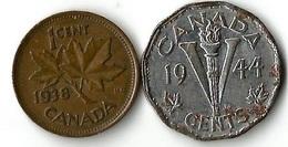 Lot 2 Pièces De Monnaie   1 Et 5 Cents - Canada
