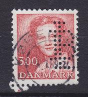 Denmark Perfin Perforé Lochung (L16) 'LB' Landmandsbanken, København 3.00 Kr Margrethe II. Stamp (2 Scans) - Abarten Und Kuriositäten