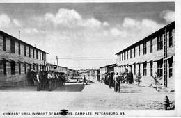Etats Unis. CPA. Virginia.  PETERSBURG.  Company  Drill In Front Of Barracks. Le Camp Lee. - Etats-Unis