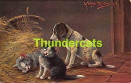 CPA ILLUSTRATEUR  CHAT CHATS CHIEN DOG ARTIST SIGNED  CAT CATS AUGUST MULLER MUNCHEN - Mueller, August - Munich