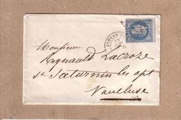 LETTRE DE PARIS ETOILE DE PARIS N° 22 RUE HELDER + AMBULANT + CAD D'ARRIVEE TYPE 22 ST SATURNIN LES APT - 1868 - Postmark Collection (Covers)